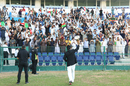 Captain Asghar Stanikzai walks the Intercontinental Cup over to the Afghanistan fans, UAE v Afghanistan, 2015-17 Intercontinental Cup, 4th day, Abu Dhabi, December 2, 2017