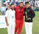 Zahir Khan, coach Raees Ahmadzai and Rashid Khan celebrate winning the Intercontinental Cup, UAE v Afghanistan, 2015-17 Intercontinental Cup, 4th day, Abu Dhabi, December 2, 2017