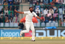 Mohammed Shami is ecstatic upon removing Dimuth Karunaratne off the first ball of Sri Lanka's innings, India v Sri Lanka, 3rd Test, Delhi, 2nd day, December 3, 2017