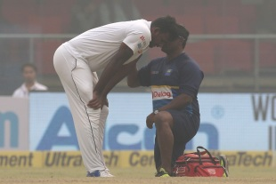 Lahiru Gamage struggled to cope with the conditions