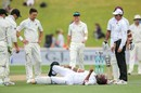 Miguel Cummins wore a painful blow on his knee, New Zealand v West Indies, 1st Test, Wellington, 4th day, December 4, 2017