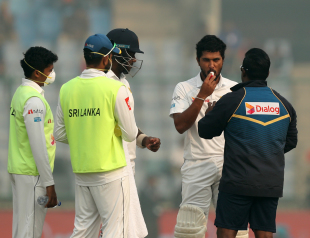 Dinesh Chandimal was tended to by the physio on account of breathing issues