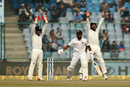 Wriddhiman Saha and Cheteshwar Pujara appeal unsuccessfully for the wicket of Dinesh Chandimal, India v Sri Lanka, 3rd Test, Delhi, 3rd day, December 4, 2017