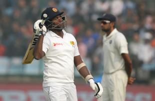 Angelo Mathews celebrates his eighth Test hundred