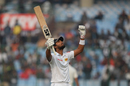 Dinesh Chandimal raises his bat after getting to his ton, India v Sri Lanka, 3rd Test, Delhi, 3rd day, December 4, 2017