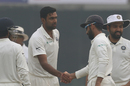 R Ashwin is congratulated by Ajinkya Rahane upon dismissing Angelo Mathews, India v Sri Lanka, 3rd Test, Delhi, 3rd day, December 4, 2017