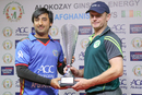 Asghar Stanikzai and William Porterfield display the ODI series trophy on the eve of the first match, Afghanistan v Ireland, 1st ODI, Sharjah, December 4, 2017