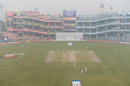 The Feroz Shah Kotla witnessed a morning session foggier than the previous three days, India v Sri Lanka, 3rd Test, Delhi, 4th day, December 5, 2017