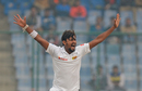 Suranga Lakmal unsuccessfully appeals for the wicket of Ajinkya Rahane , India v Sri Lanka, 3rd Test, Delhi, 4th day, December 5, 2017