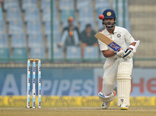 Ajinkya Rahane calls loudly after pushing one down the ground