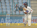 Ajinkya Rahane calls loudly after pushing one down the ground, India v Sri Lanka, 3rd Test, Delhi, 4th day, December 5, 2017