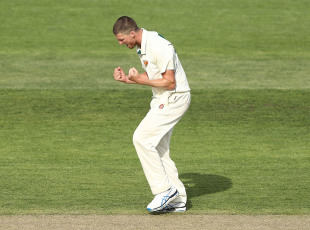 Jackson Bird is pumped after taking a wicket