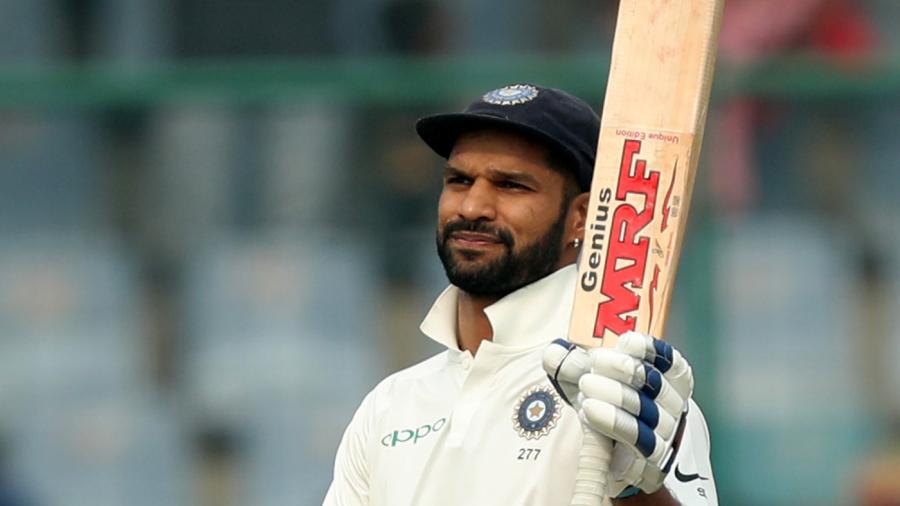 Shikhar Dhawan celebrates his half-century