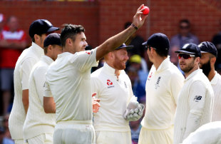James Anderson salutes the crowd for his five-for