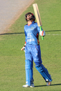 Nasir Jamal shows his relief after bringing up a half-century, Afghanistan v Ireland, 1st ODI, Sharjah, December 5, 2017