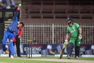 Mujeeb Zadran in his delivery stride