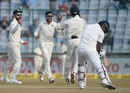 Ravindra Jadeja had Angelo Mathews caught at slip early on the fifth day, India v Sri Lanka, 3rd Test, Delhi, 5th day, Delhi, December 6, 2017