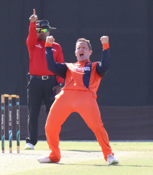 Roelof van der Merwe roars after an appeal for lbw is upheld