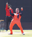 Roelof van der Merwe roars after an appeal for lbw is upheld, Namibia v Netherlands, 2015-17 WCL Championship, Dubai, December 6, 2017