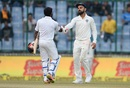 Niroshan Dickwella and Virat Kohli shake hands, India v Sri Lanka, 3rd Test, Delhi, 5th day, December 6, 2017