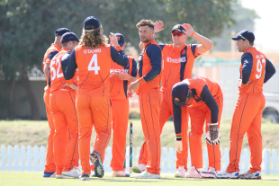 Pieter Seelaar is at the center of the Dutch celebrations after taking a key wicket
