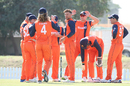 Pieter Seelaar is at the center of the Dutch celebrations after taking a key wicket, Namibia v Netherlands, 2015-17 WCL Championship, Dubai, December 6, 2017