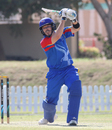 Sarel Burger drives over cover for a boundary, Namibia v Netherlands, 2015-17 WCL Championship, Dubai, December 6, 2017