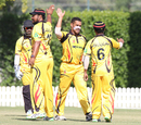 Chad Soper gets a high five from captain Assad Vala and Lega Siaka after taking a wicket, Hong Kong v Papua New Guinea, 1st ODI, 2015-17 WCL Championship, Dubai, December 6, 2017