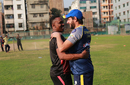 Dwayne Bravo and Shahid Afridi share a light moment ahead of the first qualifier, Dhaka, December 7, 2017