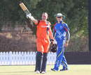 Wesley Barresi celebrates after making his second List A century, Namibia v Netherlands, 2015-17 WCL Championship, Dubai, December 6, 2017
