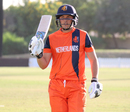 Wesley Barresi after his 120 comes to an end, including a 236-run stand with Ben Cooper, Namibia v Netherlands, 2015-17 WCL Championship, Dubai, December 6, 2017