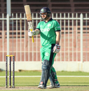 Paul Stirling raises his bat after reaching his 14th ODI half-century, Afghanistan v Ireland, 2nd ODI, Sharjah, December 7, 2017