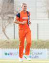 Timm van der Gugten flashes a brief grin after taking a wicket, Namibia v Netherlands, 2015-17 WCL Championship, Dubai, December 8, 2017