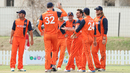 Ryan ten Doeschate gets a high five from Ben Cooper after taking a wicket in his first over for Netherlands since 2011, Namibia v Netherlands, 2015-17 WCL Championship, Dubai, December 8, 2017