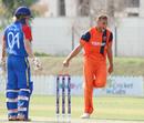 Vivian Kingma traps Bernard Scholtz lbw to complete a hat-trick, Namibia v Netherlands, 2015-17 WCL Championship, Dubai, December 8, 2017