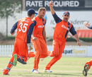 Vivian Kingma runs off in celebration after taking a hat-trick, Namibia v Netherlands, 2015-17 WCL Championship, Dubai, December 8, 2017