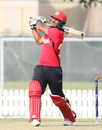 Anshuman Rath hits the last ball of the innings for six over deep midwicket, Hong Kong v Papua New Guinea, 2nd ODI, 2015-17 WCL Championship, Dubai, December 8, 2017