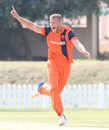 Vivian Kingma belts out a successful lbw appeal to complete a hat-trick, Namibia v Netherlands, 2015-17 WCL Championship, Dubai, December 8, 2017