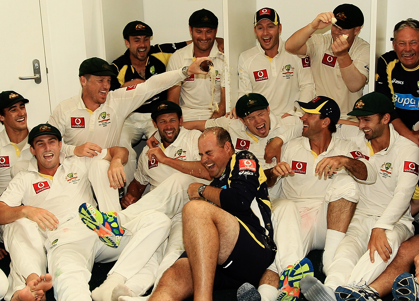 During happier times with Australia