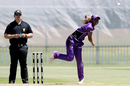 Hayley Matthews in her follow through, Hobart Hurricanes v Adelaide Strikes, WBBL 2017-18, Adelaide, December 9, 2017