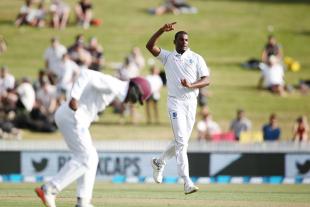Shannon Gabriel celebrates the wicket of Colin de Grandhomme