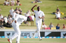 Shannon Gabriel celebrates the wicket of Colin de Grandhomme, New Zealand v West Indies, 2nd Test, 1st day, Hamilton, December 9, 2017