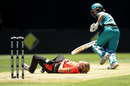 Katherine Brunt lies down after falling over, Perth Scorchers v Brisbane Heat, Women's Big Bash League, Sydney, December 10, 2017