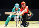 Natalie Sciver prepares to sweep, Perth Scorchers v Brisbane Heat, Women's Big Bash, League, Sydney, December 10, 2017