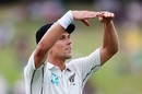Trent Boult gestures to the dressing room, New Zealand v West Indies, 2nd Test, Hamilton, 2nd day, December 10, 2017