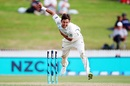 Trent Boult completes a delivery, New Zealand v West Indies, 2nd Test, Hamilton, 2nd day, December 10, 2017