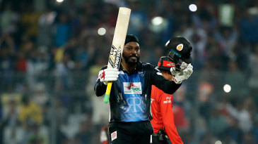 Chris Gayle celebrates yet another T20 hundred