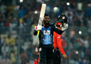 Chris Gayle celebrates yet another T20 hundred, Rangpur Riders v Khulna Titans, BPL 2017 eliminator, Dhaka, December 8, 2017