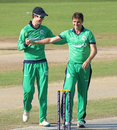 George Dockrell congratulates Tim Murtagh for taking the first wicket, Afghanistan v Ireland, 3rd ODI, Sharjah, December 10, 2017