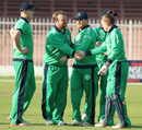 Paul Stirling gets a handshake from Niall O'Brien after claiming a wicket, Afghanistan v Ireland, 3rd ODI, Sharjah, December 10, 2017
